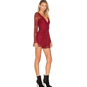 Lovers & Friends Burgundy Red Eve Lace Romper